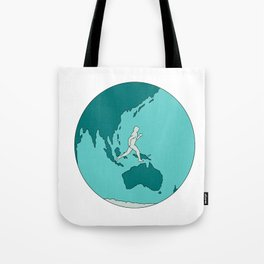 Marathon Runner Around World Drawing Tote Bag