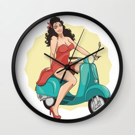 girl on a moped Wall Clock