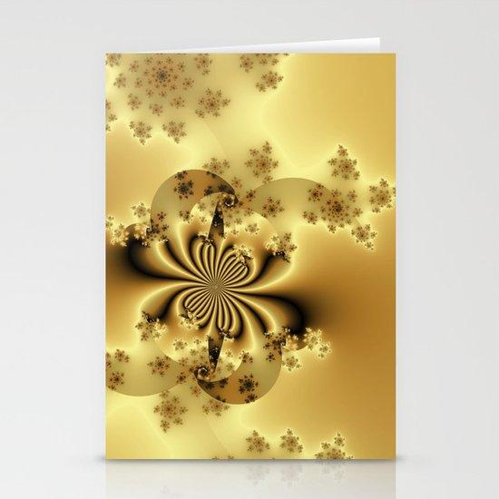 Silky Golden Fractal Stationery Cards