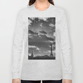 Eiffel tower under the clouds Long Sleeve T-shirt