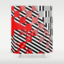red coral pink grey black white abstract geometric striped pattern Shower Curtain