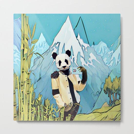 Panda taking selfie Metal Print