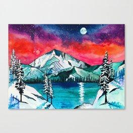 Trillium lake Oregon galaxy mountain watercolor Canvas Print