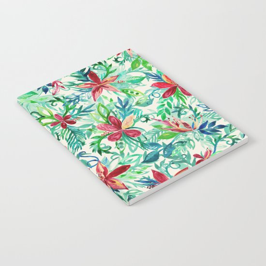 Vintage Tropical Floral - a watercolor pattern Notebook