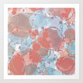 Round And Round Coral Blue Art Print