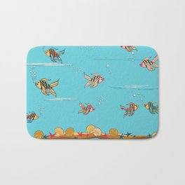 colorful fishes and seashells - blue Bath Mat