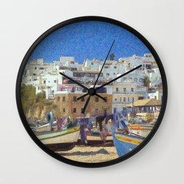Albufeira fishing boats, Portugal Wall Clock