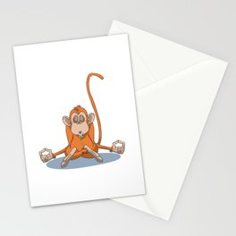 Funny monkey with chakra stones in yoga lotus Stationery Cards