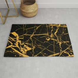 Orange Marble - Abstract, textured, marble pattern Rug