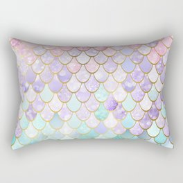 Iridescent Mermaid Pastel and Gold Rectangular Pillow