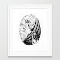 les mis Framed Art Prints featuring Les Mis From a Beginning to an End - Fantine by Flávia Marques