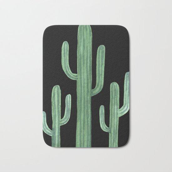 Classic Cactus Black Bath Mat