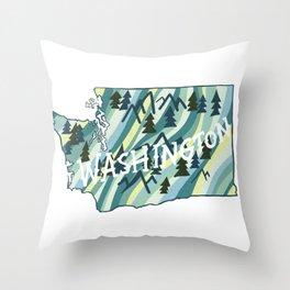 Washington State Illustrated Map Throw Pillow