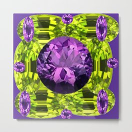 AMETHYST PURPLE  LIME GREEN PERIDOT GEMS BIRTHSTONES Metal Print