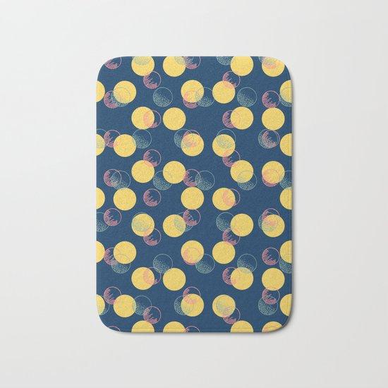 Yellow Polka Dots And Scribbles Bath Mat