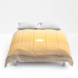 Peachy sunrise seascape Comforters