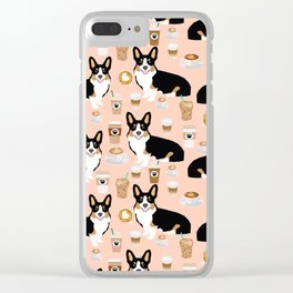 Welsh Corgi tri colored coffee lover dog gifts for corgis cafe latte pupuccino corgi crew Clear iPhone Case