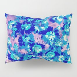 blooming blue flower abstract with pink background Pillow Sham