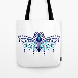 Death's Head Hawkmoth – Navy & Turquoise Palette Tote Bag