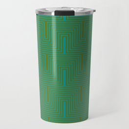 Doors & corners op art pattern in olive green and aqua blue Travel Mug