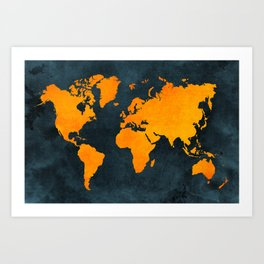 Map of the World - Inverted Bright Rust Art Print