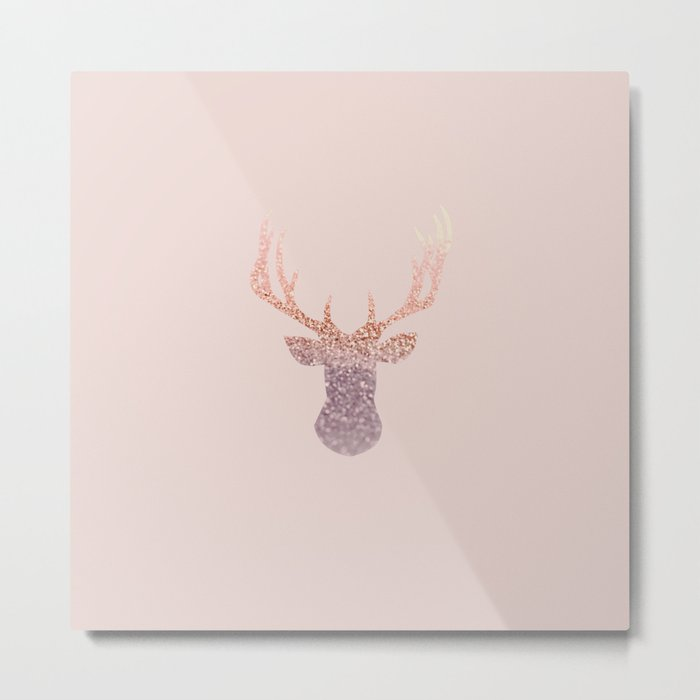 ROSEGOLD DEER BLUSH Metal Print