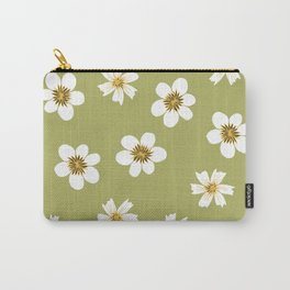 white flowers on green Carry-All Pouch