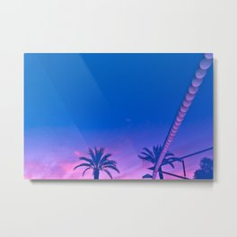 Palms and Sunset with Reverberation Metal Print