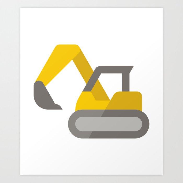 Yellow Excavator Icon Emoji Art Print by azza1070