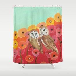 Owls in a Poppy Field Shower Curtain
