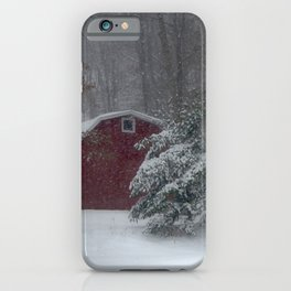 Red Barn in a Snow Storm iPhone Case