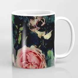 Big Pink Roses and Green Leaves Graphic Coffee Mug