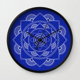 Mandala 01 - White on Royal Blue Wall Clock