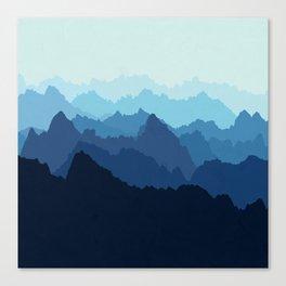 Mountains in Blue Fog Canvas Print
