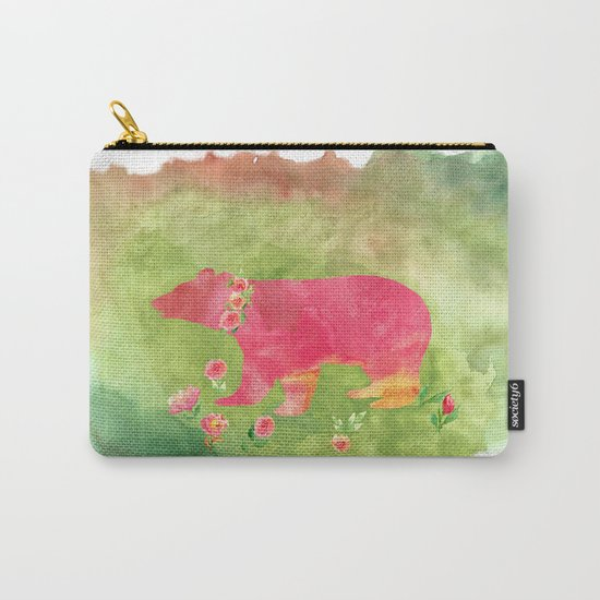 Bear  with flowers - Animal watercolor illustration on #Society6 Carry-All Pouch