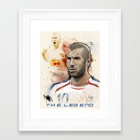 zidane Framed Art Prints featuring The Legend - Zidane, FIFA Stars by Heavenly Kaos