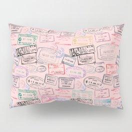 Worldly Traveler - Passport Pattern - Rose Pink Pillow Sham