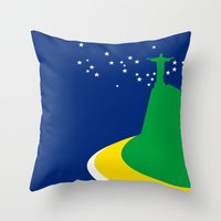 brazil Throw Pillows featuring BRAZIL by Marcus Wild