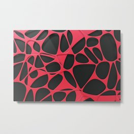 Red on black, organic abstraction Metal Print