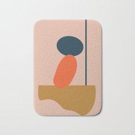Abstract #1 Orange Blue Beige Badematte
