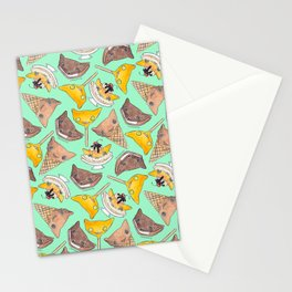 """""""Oro?"""" Ice Creams Turquoise Stationery Cards"""