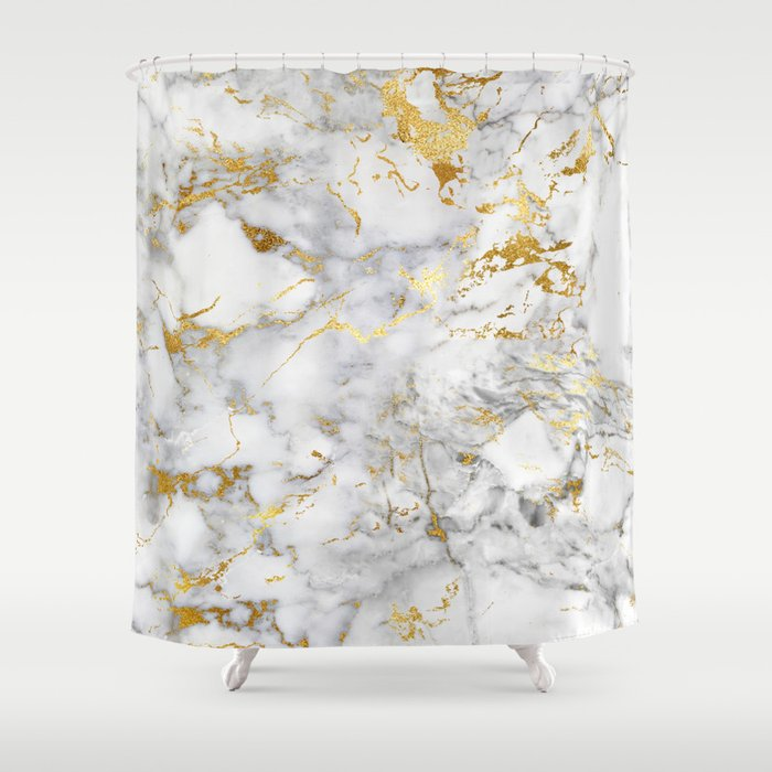 Gold Mine Marble Shower Curtain