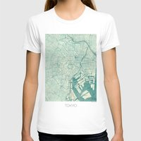 vintage map T-shirts featuring Tokyo Map Blue Vintage by City Art Posters