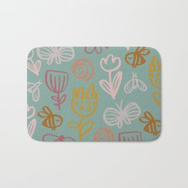 Bee with Flowers Bath Mat