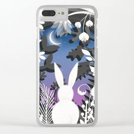 Moonlight Bunny Star Gazer Clear iPhone Case