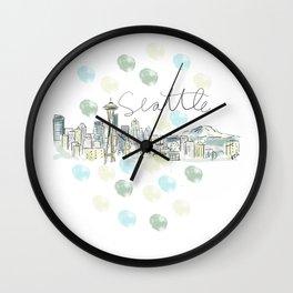 Seattle Skyline RER Wall Clock