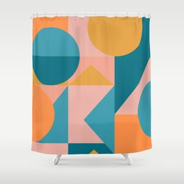 Colorful Geometric Abstraction in Blue and Orange Shower Curtain