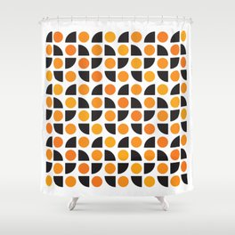 Geometric Pattern 175 (orange spots) Shower Curtain