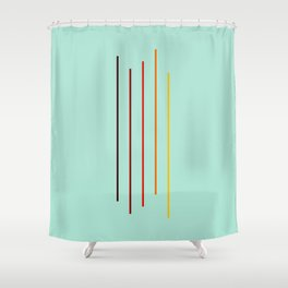 Minimal Abstract Colorful Stripes On Green Shower Curtain