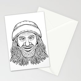 Rastafarian Dude Head Front Drawing Black and White Stationery Cards